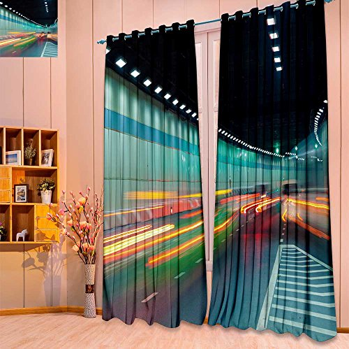 2 Panel Set Digital Printed Window Curtains abstract car in the tunnel trajectory for Bedroom Living Room Dining Room(W84 x L108 Pair) (Sets High Trajectory Iron)