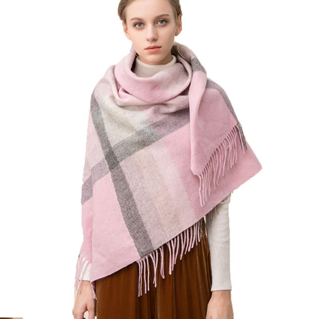 Shawl Woman,colorblock Lattice Widened to Keep Warm