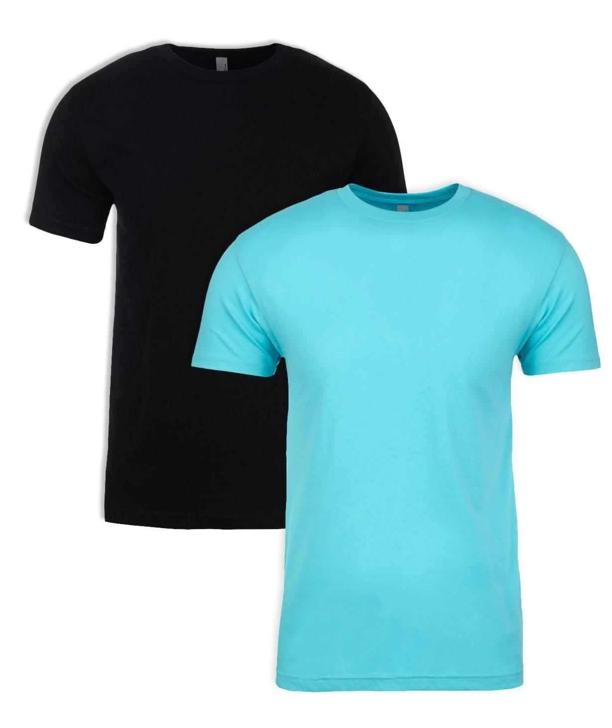 Next Level Apparel メンズ CVC クルーネック ジャージ Tシャツ B07D1D4V9P Medium|Black + Tahiti Blue (2 Pack) Black + Tahiti Blue (2 Pack) Medium