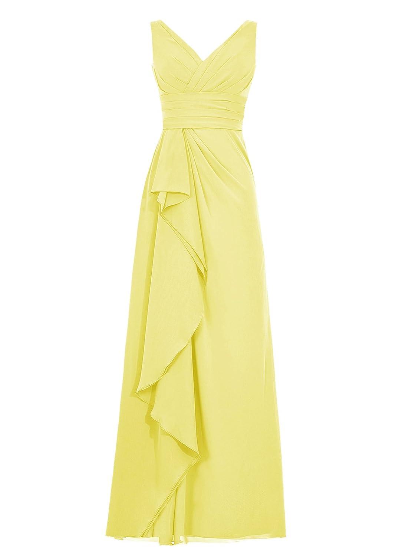 Dresstell(ドレステル) 結婚式 フォーマルドレス Vネック ノースリーブ シンプルシフォン レディーズ B012NB5KTY JP17W|イエロー イエロー JP17W