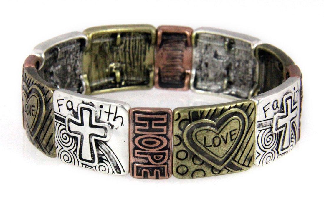4030577 Christian Hearts Crosses Faith Hope Love Stretch Bracelet Religious Bible