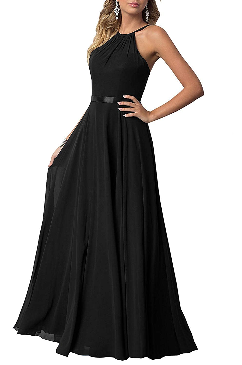 Black YUSHENGSM Long HighNeck Spaghetti Strap Prom Dresses Party Bridesmaid Dress Maxi Gowns