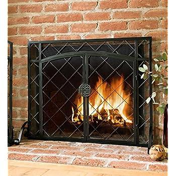 Amazon Com Large Beveled Glass Diamond Fireplace Screen
