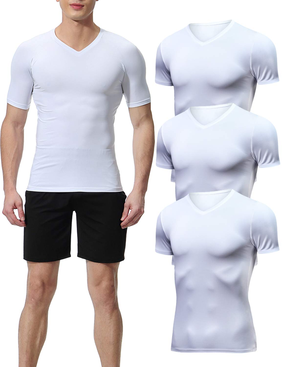 Lavento Men's Compression Shirts Cool Dry Short-Sleeve Workout Undershirts (3 Pack-V Neck White,Large) by Lavento