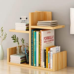 jhsms Adjustable Desktop Wood Bookshelf, Storage Organizer Display Shelf for Office Supplies Kitchen Bathroom-l 43x17x40cm(17x7x16inch)