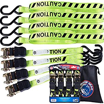 Seamander Ratchet Tie Down Straps 500 Load Capacity /& 1,500 Lbs Breaking Strength 4 Pack /& 4 Soft Loops