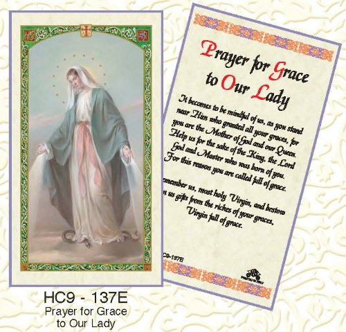 Our Lady of Grace Prayer. Laminated 2-Sided Holy Card (3 Cards per Order)