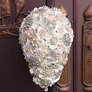 Bridal Bouquets for Wedding Bouquet of Flowers for Wedding,Bridal Bouquets Wedding Flowers Elegant Pearl Bride Bridesmaid Wedding Bouquet Crystal 20