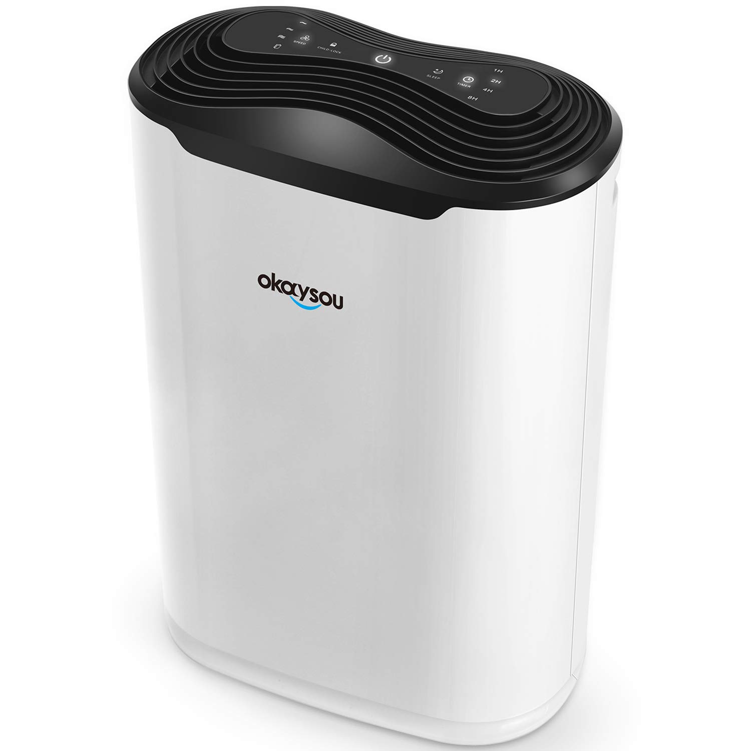 Okaysou AirMax8L 19.4'' 5-in-1 Air Purifier for Home Large Room, True HEPA Filter Quiet Air Cleaner Plus DUO-Filter, Full Room Odor Remover for Smoke, Dust, Pollen, VOCs and More, Auto Off Timer, White