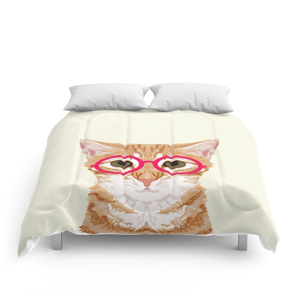 Society6 Ginger - Cute Cat With Glasses Hipster Cat Art For Dorm College Decor Funny Cat Lady Meme Comforters Queen: 88'' x 88''