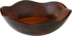 Mountain Woods Cherry Finish Flower Petal Wavy Rim Wood Serving Bowl   Decorative Bowl   Perfect for Gift- 15