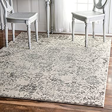 Traditional Vintage Fleur-De-Lis Damask Vineyard Grey Area Rugs, 5 Feet by 7 Feet 5 Inches (5' x 7' 5 )