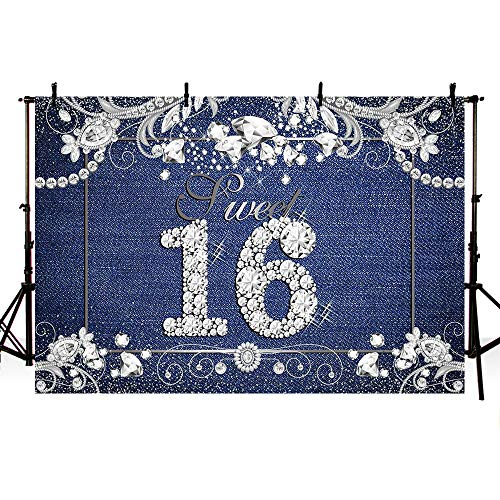 MEHOFOTO Sweet 16 Denim and Diamonds Themed Girl Happy Birthday Party Decorations Photo Studio Backgrounds Party Banner Backdrops for Photography 7x5ft -
