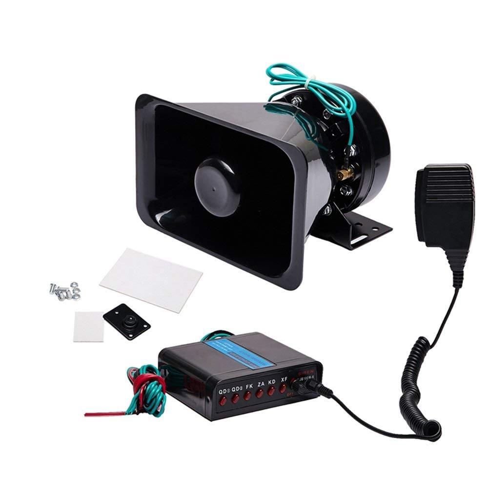LJX GROUP Pa System for Truck Car Siren Speaker Amplifier Speaker 12 Volt 100 Watt 6 Tones Emergency Sound Warning Siren Kit for Hooter/Ambulance/Traffic/Police/Fire Fighter/Car/Truck Horn