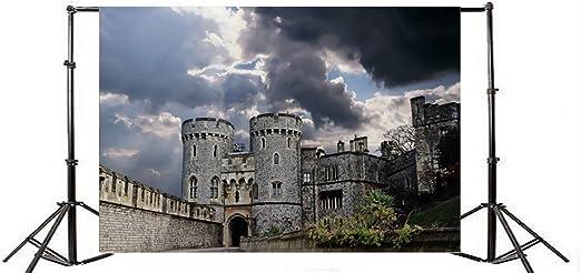 YongFoto 1,5x1m Fondos Fotograficos Antiguo Iglesia Castillo Europeo Weathered Brick WAL l Plantas Verdes Cielo Azul Nube Blanca Fondos para Fotografia Fiesta Niños Estudio Fotográfico Accesorios: Amazon.es: Electrónica
