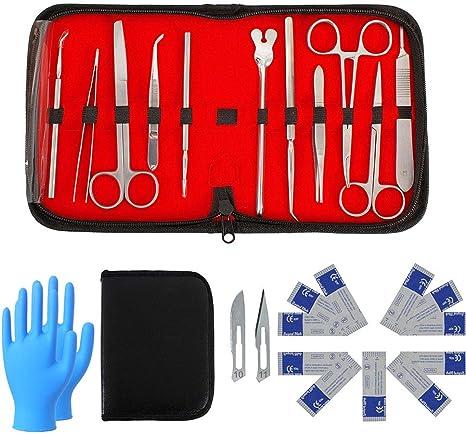 DZWJ Kit de disección para Laboratorio de anatomía y biología Experimento con Cuchillas de bisturí y Organizador Estuche de Almacenamiento y Guantes médicos Desechables de 100 Piezas: Amazon.es: Deportes y aire libre