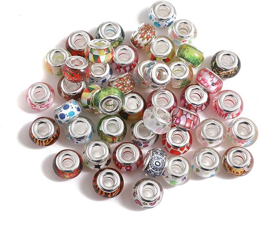 NWQEWDG Glas Beads f/ür Armband Murano Glas Charms Gemischt Gro/ßlochperlen f/ür DIY Armb/änder Halsketten Schmuck Basteln 20 St/ück