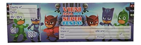 Pj Masks Blocchetto Inviti Feste Compleanno Party Bambini Super