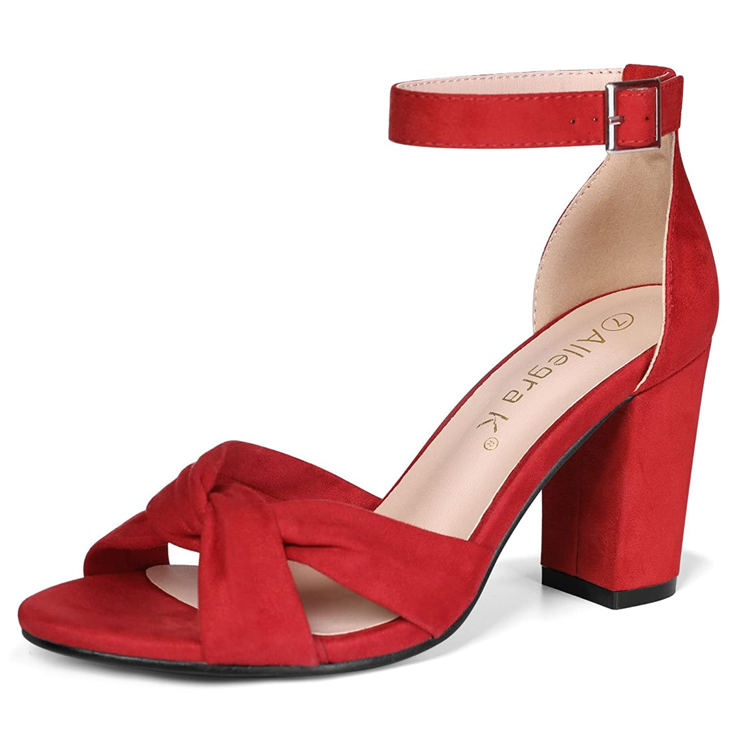 ca9c1fbef4 Allegra K Women's Knotted Ankle Strap Chunky Heel Sandals ...