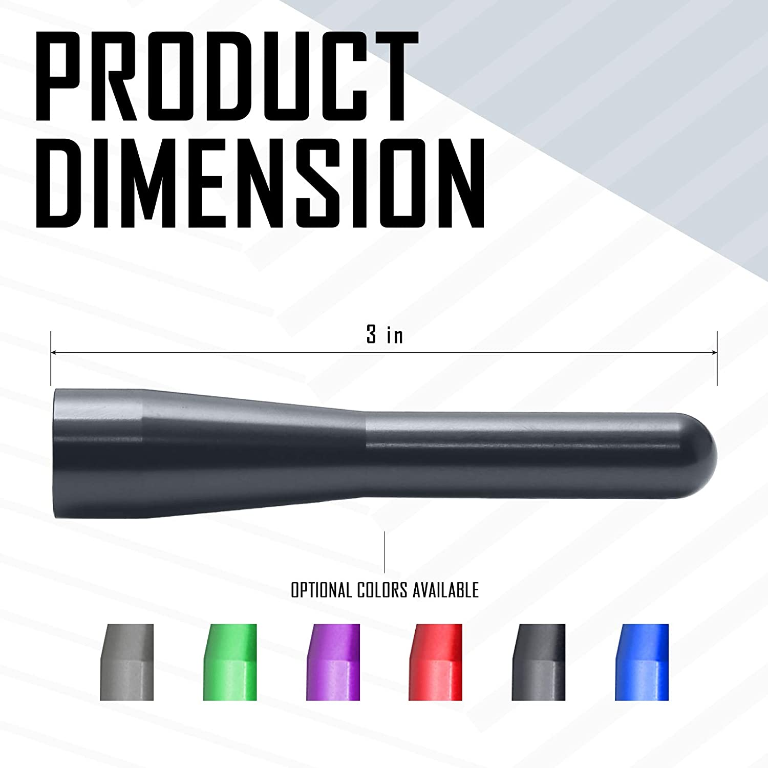 Optimized AM//FM Reception with Tough Material Elitezip Replacement Antenna for Toyota Tundra 1999-2018 3 Inches Carbon/Black