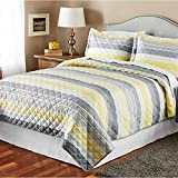 yellow quilt queen - MS 3-Piece Printed Gray and Yellow Stripe Bedspread Quilt Set, Queen/King Size, 1 quilt and 2 Shams (Queen)