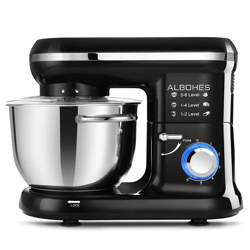 ALBOHES Stand Mixer, 600W 6 Quart Tilt-Head Dough Mixer, Electric Kitchen Mixers Food Mixer with Stainless Steel Bowl, Dough Hook, Whisk, Flat Beater, Pouring Shield (Black) by albohes