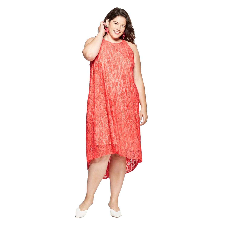 Ava & Viv Women\'s Plus Size High-Low Lace Midi Dress -Coral ...