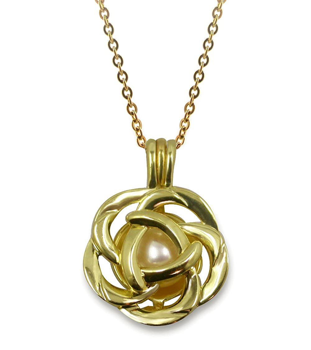 Pearlina Rose Flower Gold Plated Cage Necklace Cultured Pearl in Oyster Set w//Stainless Steel Chain 18