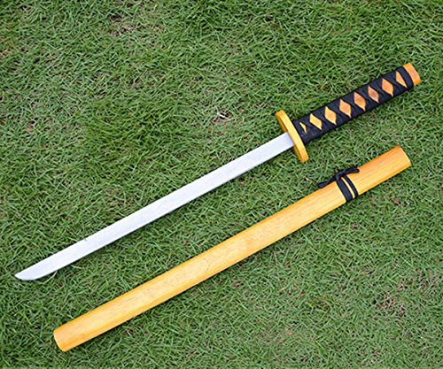 Sunny Hill Japan Samurai Wood Sword Toy Show Prop Katana Child Play PK Fencing Toy (Yellow) -
