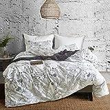 Hyprest Leaf Duvet Cover Set King Lightweight Soft White Black 3PC Comforter Cover Set Hotel Quality with Sketch Design (King)