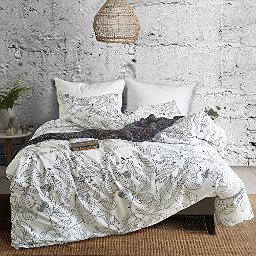 Hyprest Leaf Duvet Cover Set Queen Lightweight Soft White Black 3PC Comforter Cover Set Hotel Quality Sketch Design ()