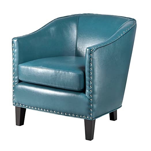 Madison Park Fremont Accent Chairs-Hardwood, Plywood, Faux Leather, Bedroom Lounge Mid Century Modern Deep Seating, Club Style Barrel Armchair, Living Room Furniture, See below, Blue