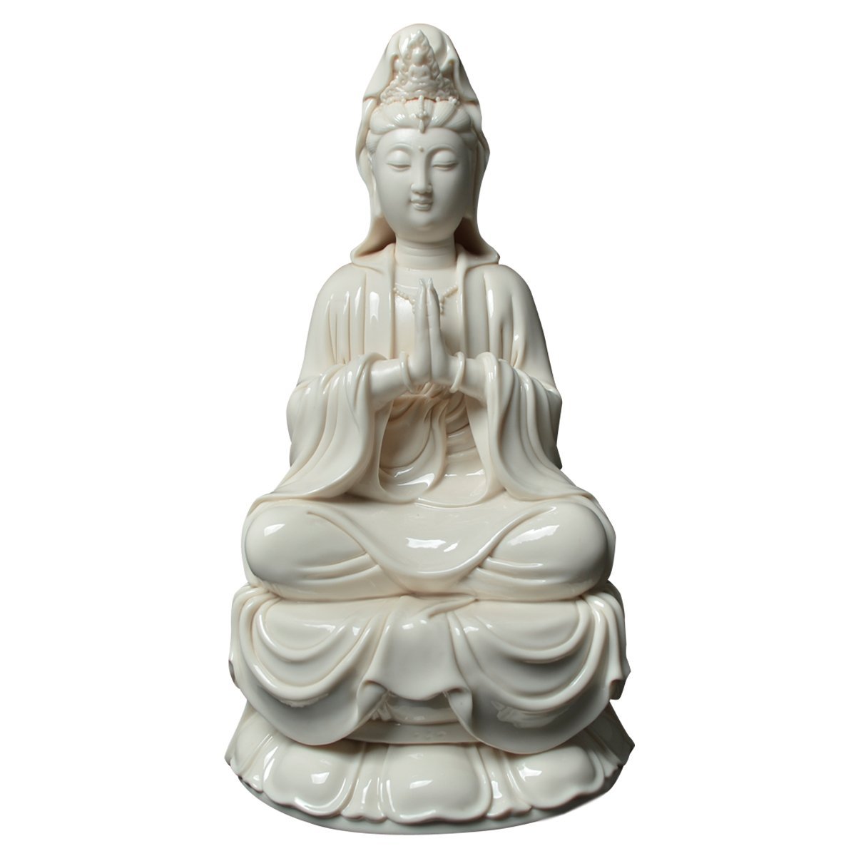 ICNBUYS Vintage Palm Godness Guanyin Buddha Statue Porcelain Home Decoration Height 12