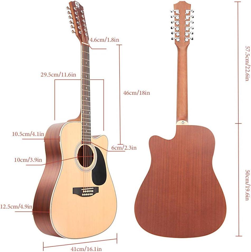 Vangoa Guitarra acústica de 12 cuerdas, parte superior de abeto y ...