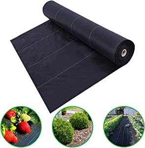 Agfabric 4x50ft Landscape Ground Cover Heavy PP Woven Weed Barrier,Soil Erosion Control and UV stabilized, Plastic Mulch Weed Block