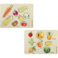 Knack Wooden Educational Puzzles for Kids (Fruits & Vegetables)