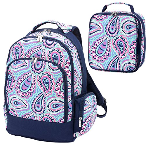 Sophie Paisley Pink Blue 2 Piece Polyester Zippered Backpack & Lunch Box Bag Set