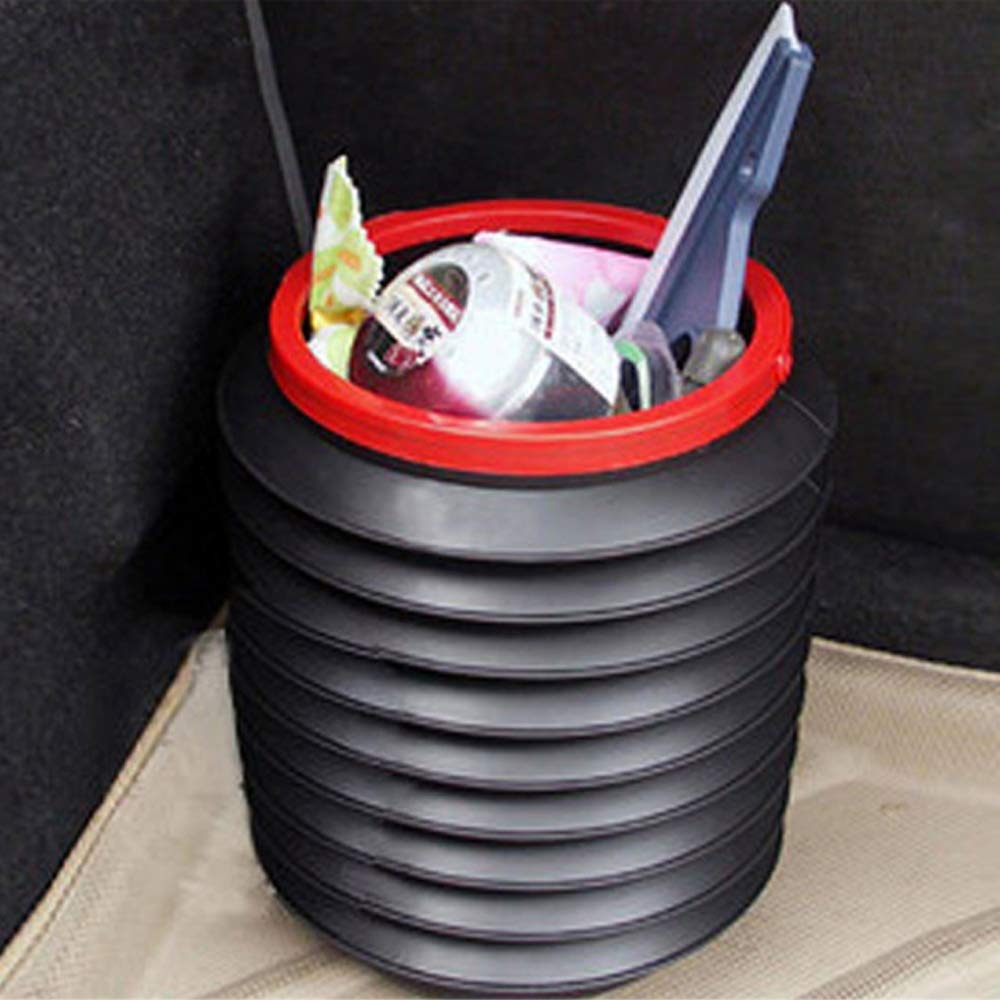 Car Telescopic Trash Can Portable Multifunctional Auto Round Folding Storage Bin Car Cleaning Bucket Accessories Fishing Box Water Pail Trash Container for Household Outdoor 4L