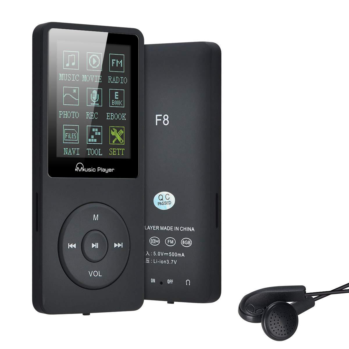 Lychee Reproductor MP3 con Auriculares,8GB Reproductor de Música Deporte 1.8 Pulgadas,Radio FM,Grabarora de Voz Soporte hasta 64GB
