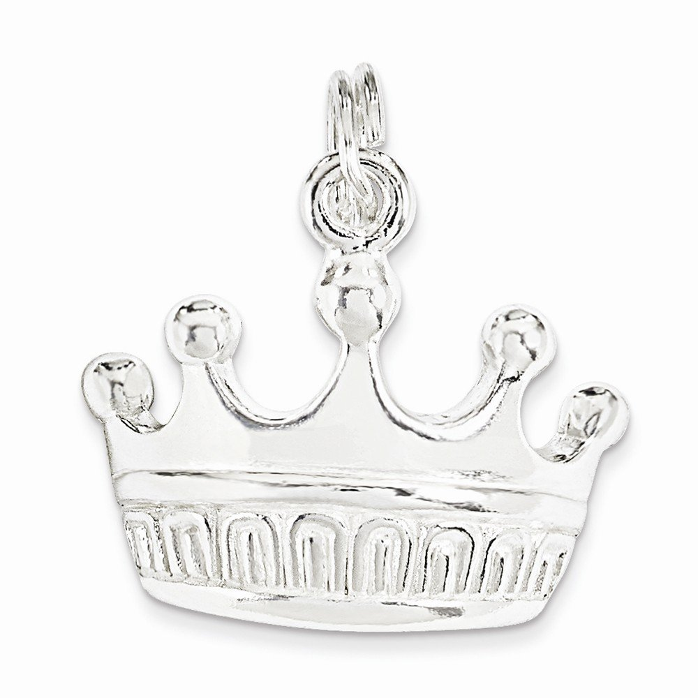 Mireval Sterling Silver Polished Crown Charm on a Sterling Silver Chain Necklace 16-20