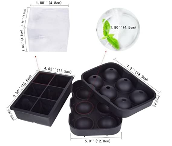 Bandejas para cubitos de hielo (juego de 2) silicona 6 gigante para hacer cubitos de hielo para niños con dulces y leche de jalea, zumo, ...