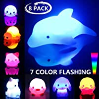 Bath Toys 8 Packs Light-Up Floating Bathtime Fun Toys 7 Color Flashing Bathtub Water Toys for Toddlers Kids Infants Boys Girls Animal Toy Set