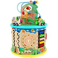Wooden Cube Toy for Kids Motor Skills Cube 11-In-1 Multi-Function Beads Labyrinth Dinosaur World Wooden Activity Cube…
