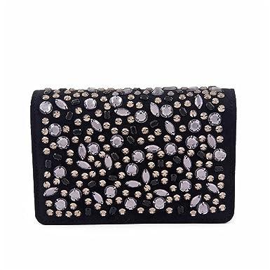 51d1fa69aa Anna Cecere - Borsa clutch, Emogine Nera, in eco pelle scamosciata con  strass - ACACX461NERO: Amazon.co.uk: Clothing