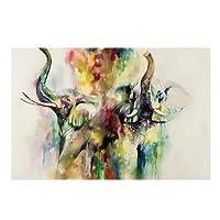 Youn camera da letto 70x 50cm pittura a olio su tela senza cornice Elephant Animal Art Decor