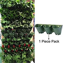 Sungmor 3 Pocket Vertical Hanging Living Wall Planter,Worth Gardening Self Watering Flower Pots,Indoor and Outdoor Decoration (1 Piece (1pc Outer Planter Only, No Liner), Dark Green)