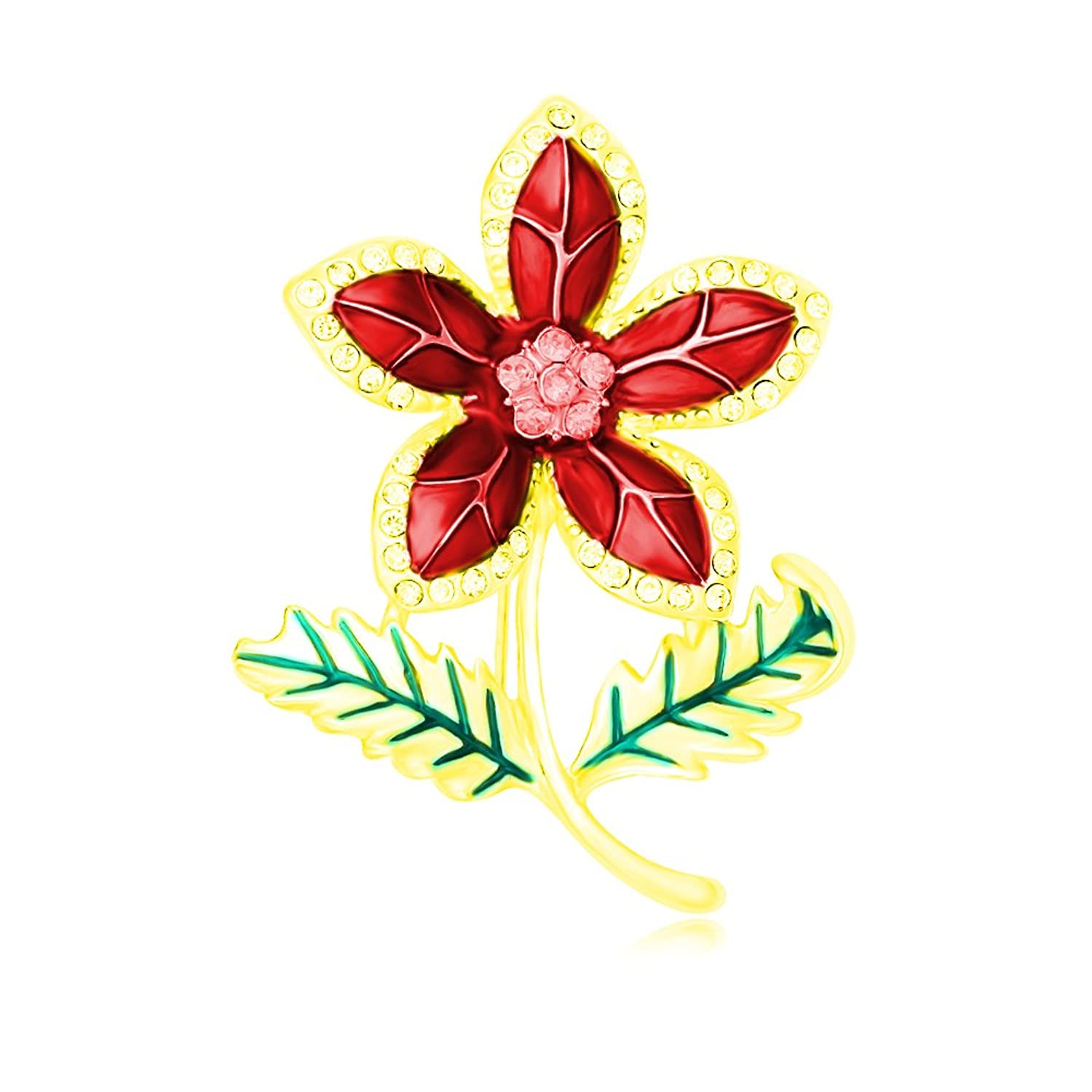 PANGRUI Exquisite Red Enamel Crystal Five-petaled Flower Brooch Pin with Two Green Enamel Leaves save more