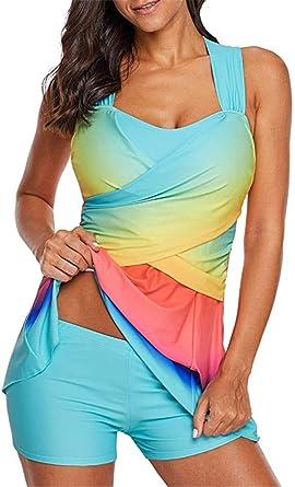 BeneGreat Womens Printed Swimdress Two Piece Swimsuit Tankini Set Bathing Suits with Boyshort