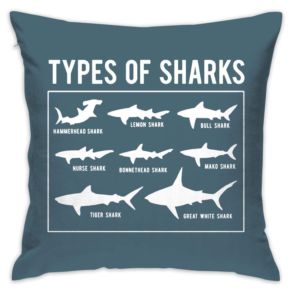 Amazon.com: Create Magic - Types of Sharks Throw Pillow ...