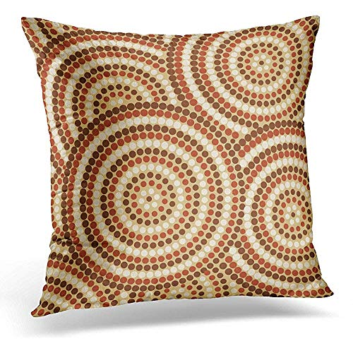 Throw Pillow Covers Brown Australia Abstract Aboriginal Dot Painting in Format Orange Australian Circle Decorative Pillow Case Home Decor Square 16x16 Inches Pillowcase